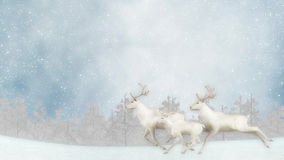 Three Reindeer Running Christmas Snowing Background Illustration Royalty Free Stock Photography