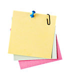 Three reminder notes  with pin Stock Photo