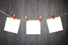 Three reminders note hanging  on rope Royalty Free Stock Photography