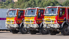 Three Renault trucks of French civil security Stock Photography