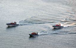 Three rescue boats at sea. Exercise of the Swedish rescue brigade in Göteborg Royalty Free Stock Images