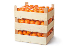 Three retail crates of ripe tangerines Royalty Free Stock Photos
