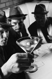 Three retro businessmen. stock photos