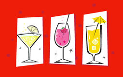 Three retro drinks isolated on red background Stock Photo