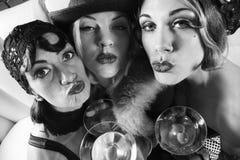 Three retro females. stock photos