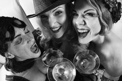 Three retro females. Royalty Free Stock Photo