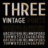 Three Retro Fonts Stock Images