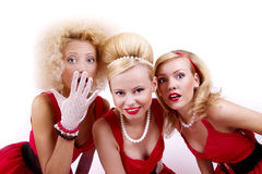 Three retro girls. Royalty Free Stock Images