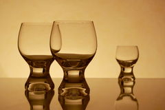 Three Retro Glasses. Tree Retro Glasses in yellow photography Royalty Free Stock Photos