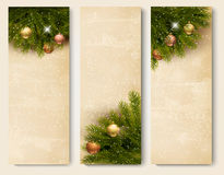 Three retro holiday banners with christmas tree br. Anches. Vector Stock Photo