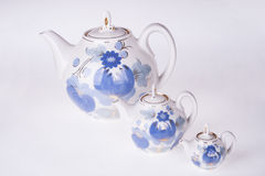 Three porcelain teapots Stock Photos