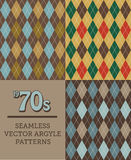 Three Retro 1970s-style Seamless Argyle Patterns Stock Images