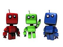 Three RGB robots. A colorful group of funny, 3D generated robots; RGB (Red, green, blue web colors stock illustration