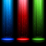 Three RGB shafts of light Royalty Free Stock Images