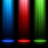 Three RGB shafts of light. Shines a spotlight into the black vector illustration