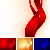 Three ribbons. On different color background Royalty Free Stock Photos