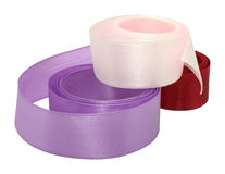 Three ribbons. Three color ribbons: pink, purple, red Stock Photos