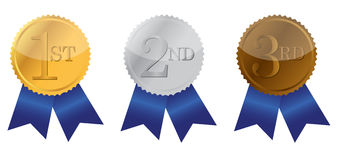 Three ribbons of Achievement Royalty Free Stock Image