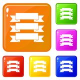 Three ribbons icons set vector color. Three ribbons icons set collection vector 6 color isolated on white background stock illustration