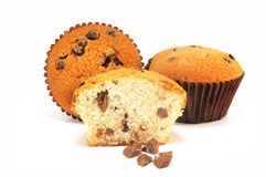 Three rich fruitcakes with chocolate Stock Image