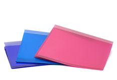 Three ring binders, A4. Three colourful A4 ring binders stock photography