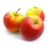 Three ripe by apples isolated Stock Photos