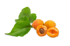 Three ripe apricot and a branch with leaves closeup Stock Photo