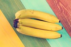 Three ripe banana fruits Stock Images