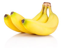 Three of Ripe bananas isolated on white background Stock Photos
