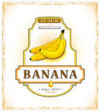Three ripe bananas, product label Stock Image