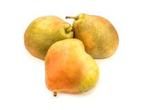 Three ripe blushful pears isolated on white. Stock Images