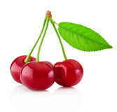 Three ripe cherries with leaf isolated on white background Stock Photography