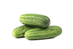 Three ripe cucumbers Royalty Free Stock Images