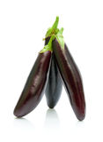 Ripe eggplant on a white background. vertical photo. Royalty Free Stock Photo