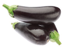 Three ripe eggplants in a heap. Stock Images