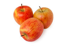 Three ripe fresh red apples Stock Images