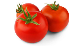 Three ripe fresh red tomatoes isolated on white background Royalty Free Stock Image