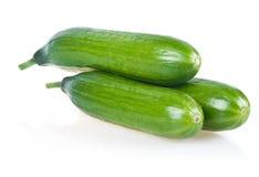 Three Ripe Green Cucumbers Isolated Royalty Free Stock Photos