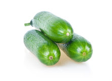 Three Ripe Green Cucumbers Isolated Royalty Free Stock Images