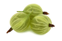 Three ripe green gooseberries (isolated) Stock Photo