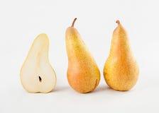 Three ripe green pears Stock Photos
