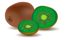Three ripe kiwi fruits. Isolated on white Royalty Free Stock Photography
