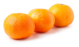Three ripe mandarins isolated on white background Stock Photography