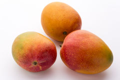 Three Ripe Mangos With Impeccable Skin On White. Three ripe mangos, Mangifera indica, with impeccable skin. Only a few tiny dark spots do indicate that this Stock Image