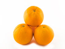 Three Ripe orange. Ripe orange isolated on white royalty free stock image