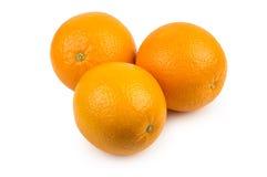 Three ripe oranges on white Royalty Free Stock Photo