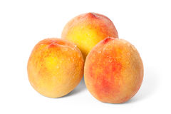 Three ripe peach with drops of water Stock Photos