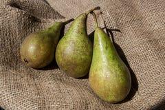 Three ripe pears on the jute bag Royalty Free Stock Photos