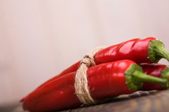 Three ripe peppers cayenne Royalty Free Stock Photos