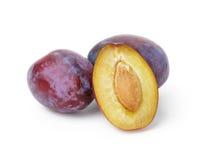 Three ripe plums Royalty Free Stock Photo